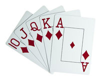 Royal flush. Isolated on a white background Stock Images