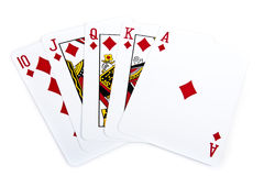 Royal flush. Of red diamond on isolated Royalty Free Stock Image