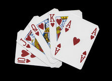 Royal Flush. Close up view of a card game hand with a royal flush Stock Photography