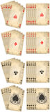 Royal flush. Old classic playing cards isolated on white background: diamond heart club spade royal flush vector illustration