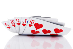 Royal flush. Of hearts on white background Stock Photo