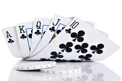 Royal Flush. Of clubs on white background Royalty Free Stock Image