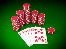 Royal flush. Gambling chips and poker cards on green carpet - 3D render Royalty Free Stock Photography