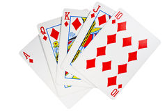 Royal flush. High (ace, king, queen, jack, ten) five cards of the same suit Royalty Free Stock Photos