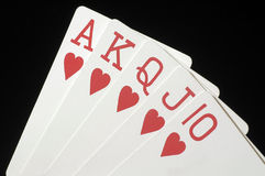 Royal Flush 3. Red Royal Flush with Hearts on Black royalty free stock photos