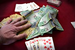 Royal Flush. Winner takes all. Poker game Royalty Free Stock Photography