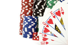 Royal flush. And poker chips Stock Images