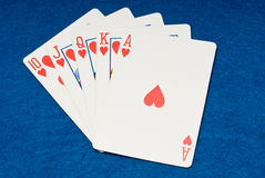 Royal Flush. In action on a poker cloth stock photo