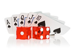 Royal flush. Of spade on white background Royalty Free Stock Image