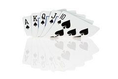 Royal flush. Of spade on white background Royalty Free Stock Images