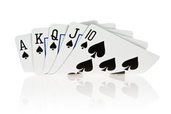 Royal flush. Of spade on white background Stock Photos