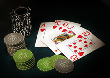Royal Flush. Poker sports abstract backgrounds black Royalty Free Stock Photography