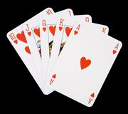 Royal flush. Poker hand showing royal flush with hearts Royalty Free Stock Images