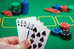 Royal Flush. The highest hand at a poker game Stock Image