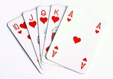 Royal flush. In casino stock image