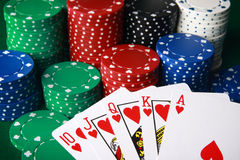 Royal flush!. Big winnings on royal flush Stock Photo