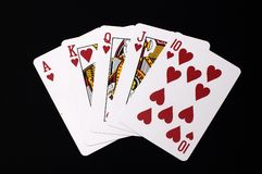 Royal Flush. Hearts Royal Flush Cards Royalty Free Stock Image