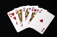 Royal Flush. Hearts Royal Flush Cards Royalty Free Stock Photography