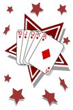 Royal flush. Of diamonds with star background Royalty Free Stock Image