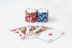 Royal flush 7 chips poker game stock photography