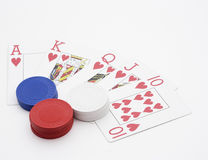 Royal Flush. A winning royal flush hand in poker Stock Photos