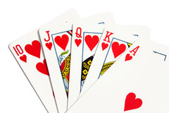 Royal flush. Over white background stock photo