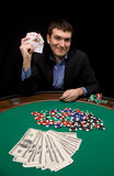 Royal flush. In poker hand win on table with green felt Royalty Free Stock Photo