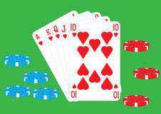 Royal Flush. A Royal Flush Ace King Queen Jack and Ten of Hearts a winning hand of cards in poker on a green background vector illustration