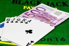 Royal Flush auf fünf hundreed Euro Lizenzfreies Stockbild