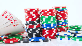Royal flush and big stake isolated Royalty Free Stock Photography
