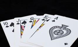 Royal Flush on black background Royalty Free Stock Images