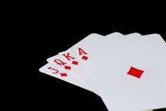 Royal flush. Blakc background poker Royalty Free Stock Images