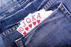 Royal flush in blue jean pocket Royalty Free Stock Photo