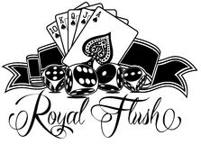 Royal Flush. With Calligraphy and Cards Royalty Free Stock Photography