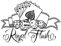 Royal Flush. With Calligraphy and Cards Royalty Free Stock Images