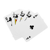 Royal flush. Cards in clubs isolated on white background Royalty Free Stock Image
