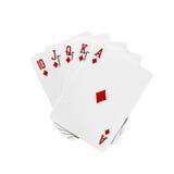 Royal flush. Cards in diamonds isolated on white background Stock Image