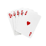 Royal flush. Cards in hearts isolated on white background Royalty Free Stock Photos