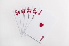 Royal flush. Flush royal cards isolated on white background Stock Image