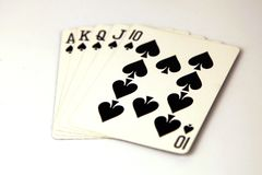 Free Royal Flush Cards Poker Hand With The Spades Suit Royalty Free Stock Photography - 165349527