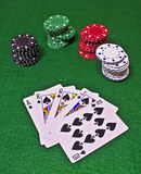 Royal Flush with Casino Chips royalty free stock images
