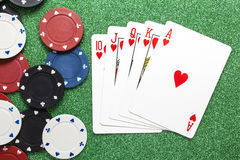 Royal flush. Casino concepts stock images