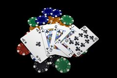 Royal Flush, chips Stock Photography
