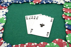 Royal flush and chips Royalty Free Stock Images