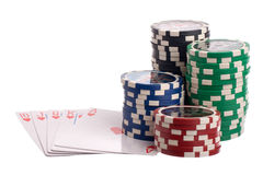 Royal flush and chips Stock Image
