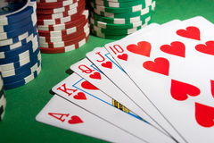 Royal flush and chips Royalty Free Stock Photography