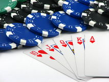 Royal flush and chips Stock Photo