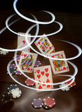 Royal Flush, Chips and Lights Stock Photo
