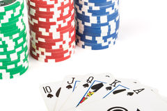 Royal flush and chips. Poker. Royalty Free Stock Image