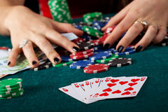 Royal flush closeup. A closeup of a royal flush on a gambling table Stock Images